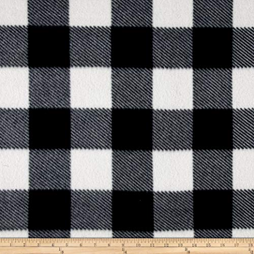 Newcastle Fabrics Fleece Buffalo Plaid Print Black/White Fabric by The Yard,