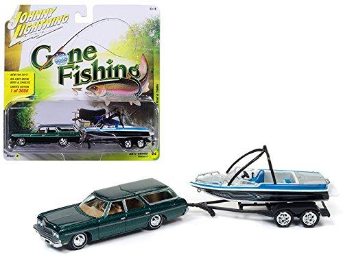 - 1973 Chevrolet Caprice Station Wagon Dark Green Poly with Malibu Boat Gone Fishing 1/64 Model Car by Johnny Lightning