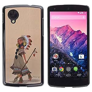 GOODTHINGS Funda Imagen Diseño Carcasa Tapa Trasera Negro Cover Skin Case para LG Google Nexus 5 D820 D821 - Niña india tocado de plumas de flecha