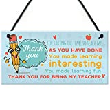 XLD Store Gift for Teacher Thank You Teaching Assistant Nursery Leaving School Gift Sign Plaque