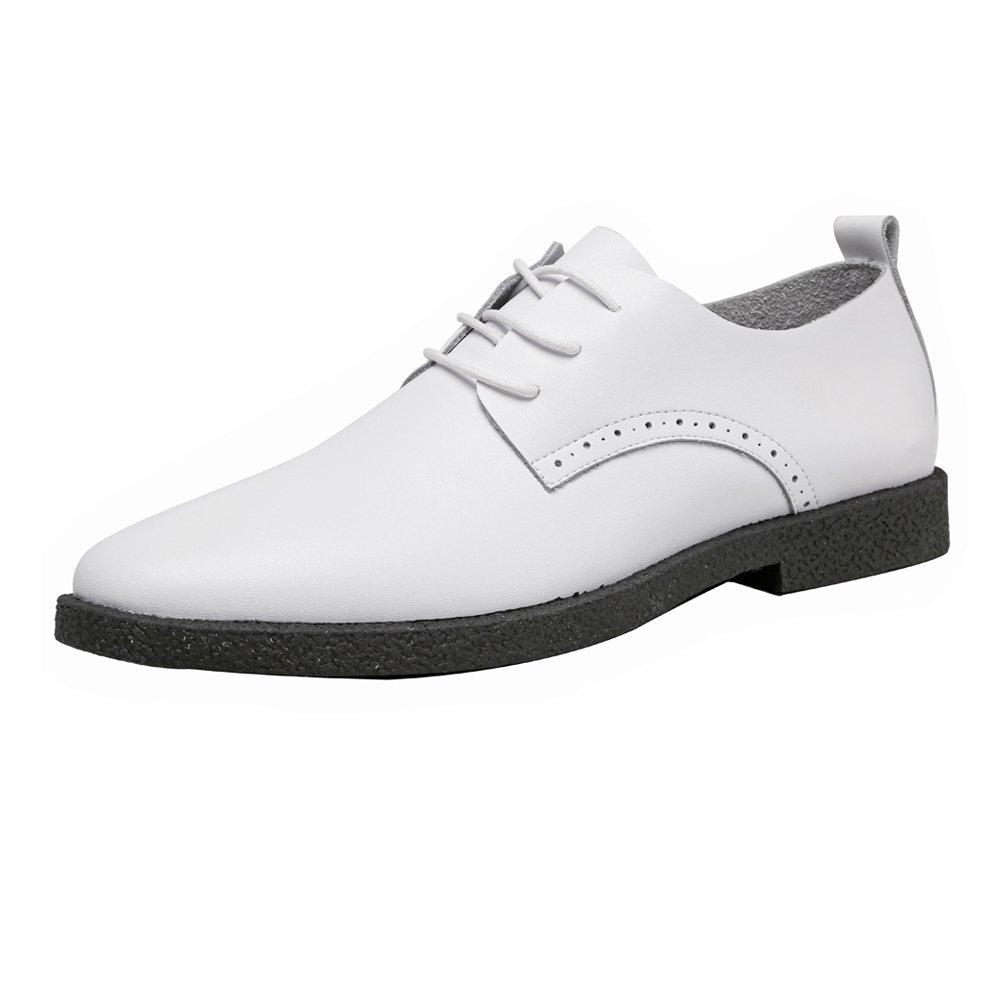 MXNET Zapatos Casuales de los Hombres Mocasines de Cuero Genuino con Cordones Respirables Oxfords del Dedo del pie Acentuado 44 EU Blanco