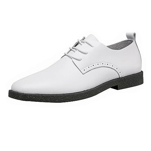SRY-Shoes Los Zapatos Casuales Simples de los Hombres Los Mocasines de Cuero Genuino Mate Atan hacia Arriba Oxfords del Dedo del pie Acentuado Transpirable: ...