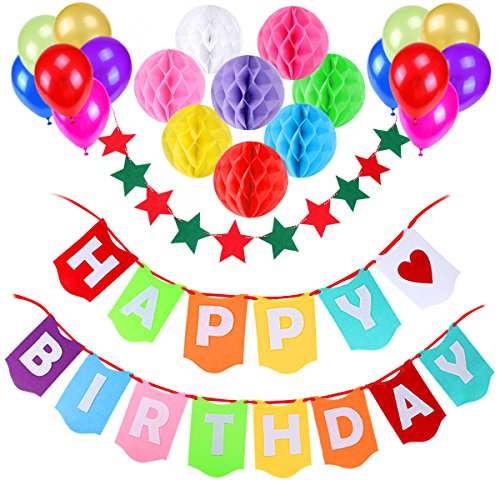 aitesco Happy Birthday Banner, Birthday Party Decorations Favors with 8 Pack Honeycomb Paper Balls and 12 Colorful Party Balloons,1 Colorful Start-shape Pull Flowers, Party Supplies (Multicolor) for $<!--$3.99-->