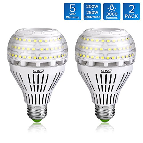 SANSI A21 22W (250-200 Watt Incandescent Bulb Equivalent) LED Bulbs, 3000lm Super Bright Omni-Directional Ceramic LED Bulbs, 5000K Daylight White Light, E26 Medium Screw Base, Not-Dimmable, 2-Pack ()