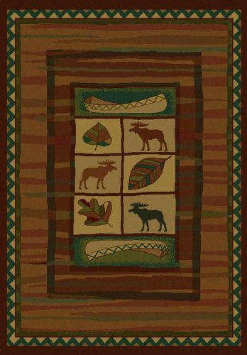 - United Weavers of America Genesis Collection Highland Falls Heavyweight Heat Set Olefin Rug, 5-Feet3-Inch by 7-Feet 6-Inch, Lodge