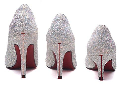 Scarpe Da Sposa Scarpe Da Sposa Bling Sparkle Scarpe Cristallo Principessa Bianco Bianco 9,5 Cm Tacco