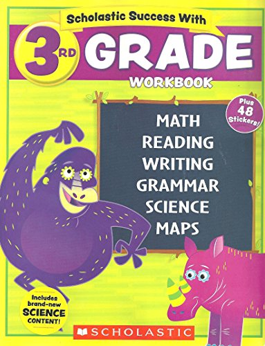 NEW 2018 Edition Scholastic - 3rd Grade Workbook with Motivational Stickers