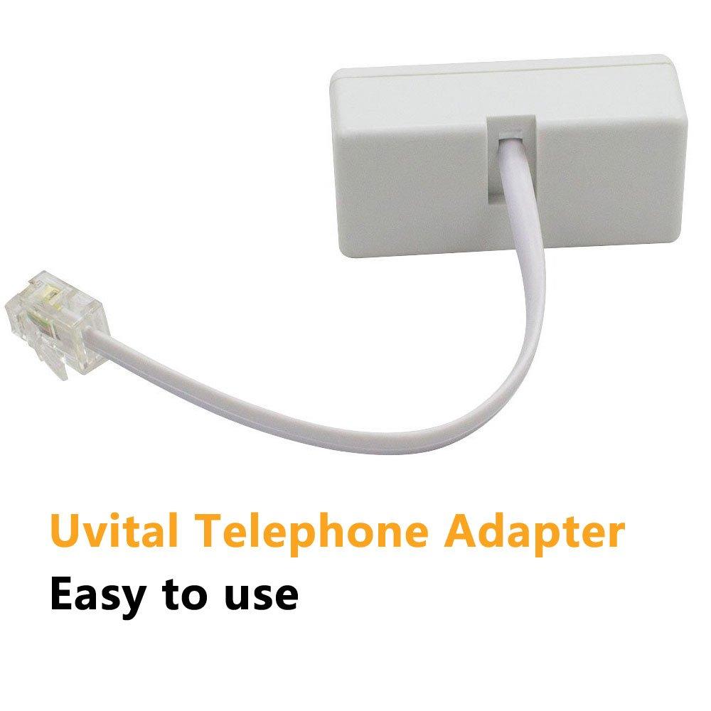 2 Pack RJ45 to BT/&RJ11 Secondary Splitter Telephone Adapter Converter Connector Cable,Uvital RJ45 Male to UK BT/&RJ11 2 Female Socket Cord Separator for Ethernet RJ45 Secondary Phone Line