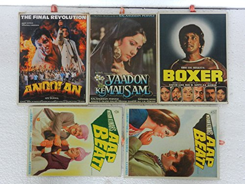 Vintage Lot Of 5 Hindi Bollywood Ad Movie Poster Paper Sign