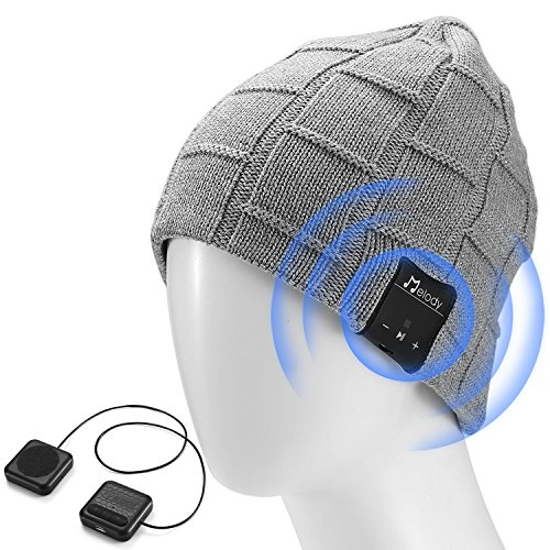 LNKK Bluetooth Beanie Hat, Superior Wireless Music Beanie Hat Washable Knit Cap with Headphone Headset Earphone Audio HandFree Calling for Running Exercise Gym Sports Fitness, Light Gray (Best Headset For Cold Calling)
