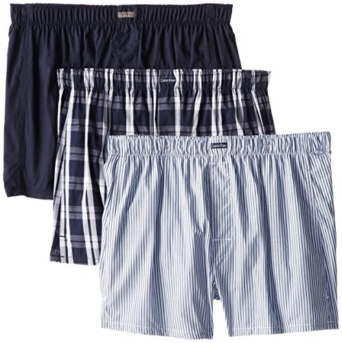 Calvin Klein Men's 3 Pack Cotton Classic Woven Boxer, Montague Stripe/Tide/Morgan Plaid, Large (Mens Classic Boxer Plaid)