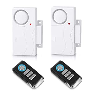 Wsdcam Wireless Remote Door Alarm Windows Open Alarms Magnetic Sensor Pool Alarm for Kids Safety Home Security, 110 dB Loud (2 Alarms with 2 Remotes)