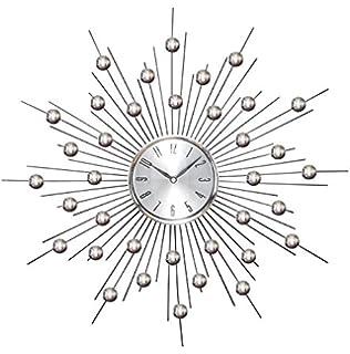 Amazoncom Starburst Retro Wall Clock Silver Home Kitchen