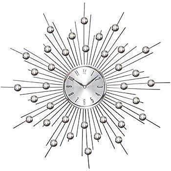 Amazon Com Starburst Retro Wall Clock Silver Home Amp Kitchen