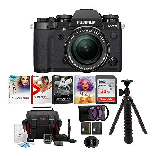 Fujifilm X-T3 Mirrorless Digital Camera w/XF18-55 Lens (Black) Accessory Bundle with Sandisk 128GB SD Card, 2 NP-W126 & Dual Charger, 58mm 3-Piece Filter Kit and Deluxe Photo Software