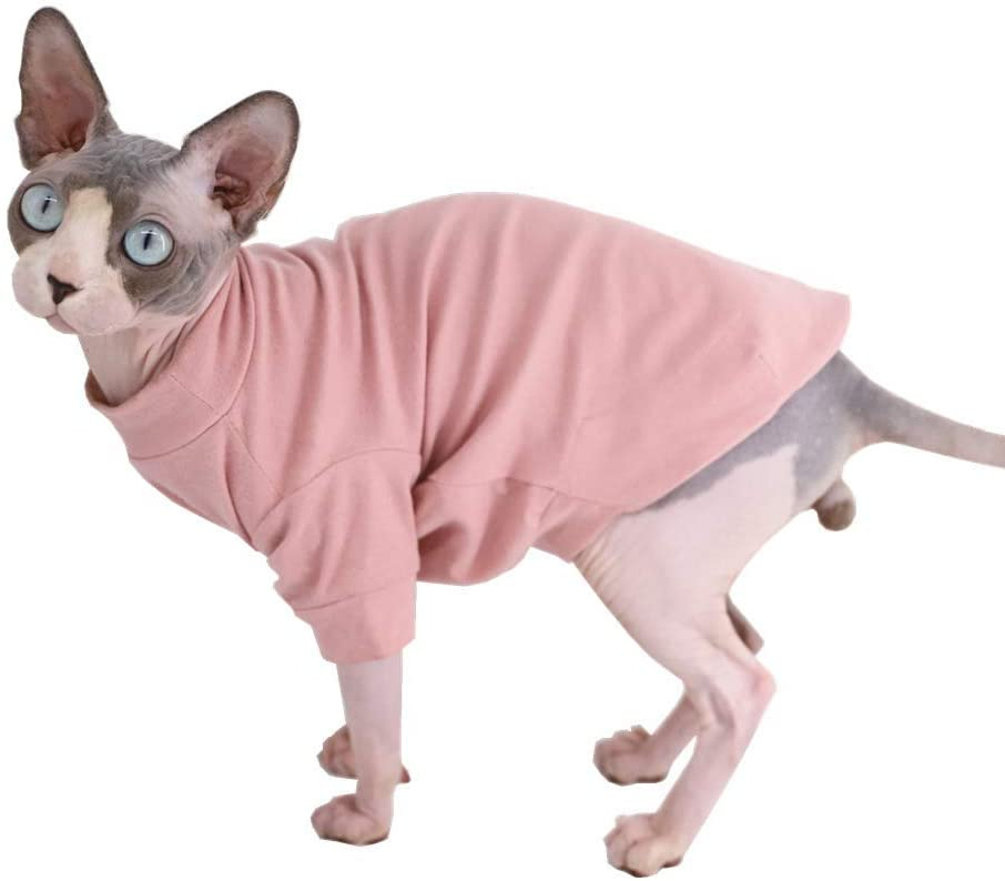 Amazon Com Sphynx Hairless Cat Cotton Tshirts Pet Clothes Pullover Kitten T Shirts With Sleeves Cats Small Dogs Apparel Solid Color Pet Supplies