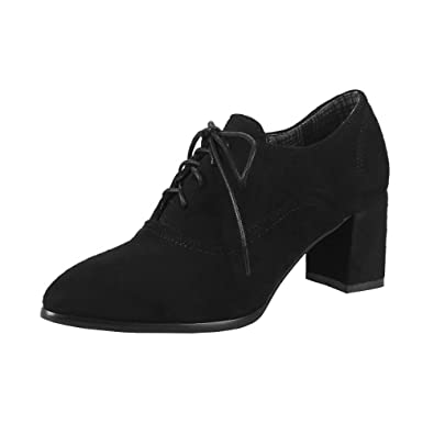 Womens Lace Up Pointed Mid Chunky Heel Nubuck Leather Pumps Autumn Winter Ankle Boots