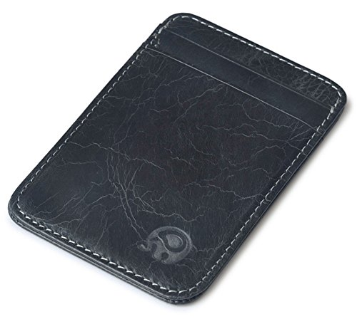 Vintage Genuine Leather Wallet Slim Front Pocket Credit Card Holder Sleeve Card case (Black)