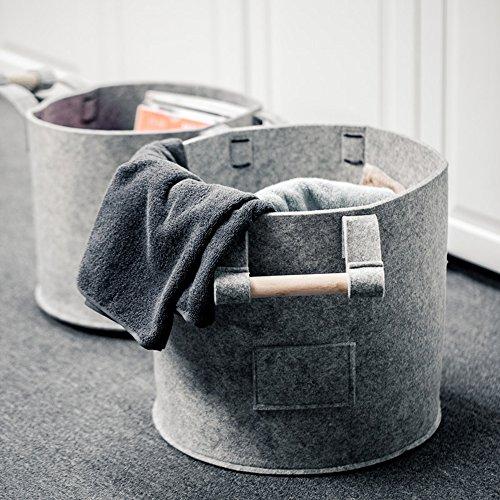Dahey Felt Storage Basket With Wooden Handles for Kids Toy Clothing Magazine, (Felt Basket)