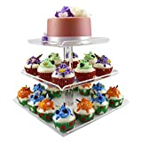 DYCacrlic 3 Tiers Large Upgraded Multi-Function Acrylic Cupcake Stand Trays with Borders - Square Cake Stand Tower - Party Dessert Holder - Tiered Serving Trays - Display Cake Tower Tree