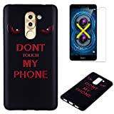 For Huawei Honor 6X Case Silicone Black,OYIME Luxury [Angry Eyes] Unique Relief Pattern Soft Rubber Thin Slim Protective Back Cover Drop Protection Anti-Scratch Bumper and Screen Protector