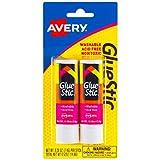 Avery Glue Stic White, 0.26 oz., Washable, Nontoxic, Permanent Adhesive, 2 Glue Sticks (00171)