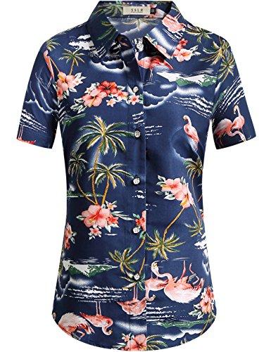 SSLR Women's Flamingos Floral Casual Short Sleeve Hawaiian Shirt (3X-Large, Dark Blue) - Mia Print Blouse