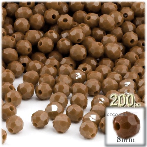 (200pc Plastic Round Opaque Faceted Beads 8mm Light Brown beads)
