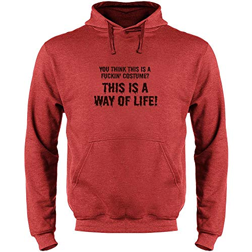 Pop Threads You Think This is a Costume? It's a Way of Life Heather Red L Mens Fleece Hoodie Sweatshirt
