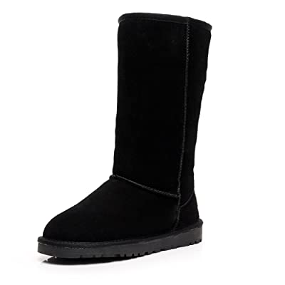 Shenn Women's Classic Tall Winter Warm Suede Leather Snow Boots | Snow Boots