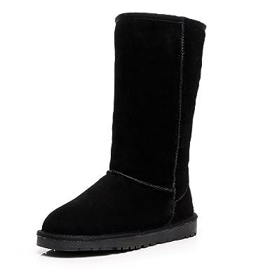 32dd1c6bcb2 Shenn Women's Classic Tall Winter Warm Suede Leather Snow Boots