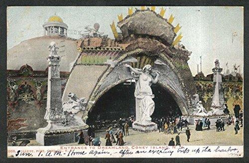 Coney Dreamland Island (Entrance to Dreamland Coney Island NY glitter added undivided back postcard 1905)