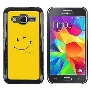 LECELL--Funda protectora / Cubierta / Piel For Samsung Galaxy Core Prime -- LINDA CARA SONRIENTE AMARILLO --