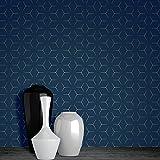 Metro Illusion Geometric Wallpaper - Navy Blue