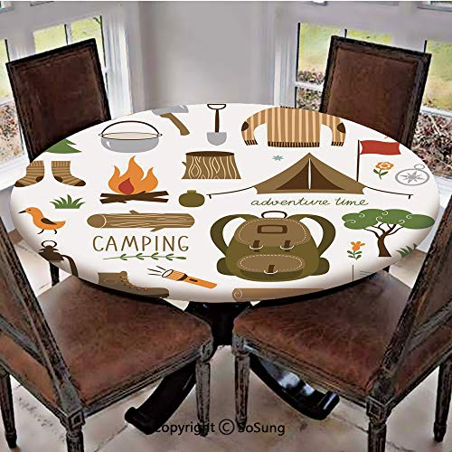 Elastic Edged Polyester Fitted Table Cover,Camping Equipment Sleeping Bag Boots Campfire Shovel Hatchet Log Artwork Print,Fits up 40