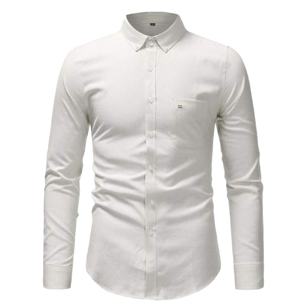 TAGGMY Men Shirts Long Sleeve Solid Color Spring Fashion Casual Slim Fit Button Standing Collar Tops Blouse T-Shirt White Small