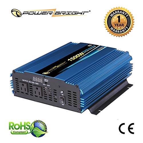 PowerBright PW1500-12 Power Inverter 1500 Watt 12 Volt DC to 110 Volt AC …
