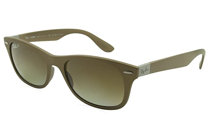 8aacd969fbd61 Ray-Ban New Wayfarer 0RB4207 Square Sunglasses for Unisex - Size - 52 (Grey  Gradient Brown Polar)  Rayban  Amazon.co.uk  Clothing