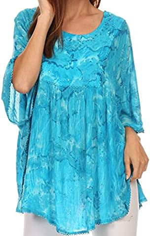 Sakkas 16031 - Cleeo Long Wide Tie Dye Lace Embroidered Sequin Poncho Blouse Top Cover Up - Turquoise - OS