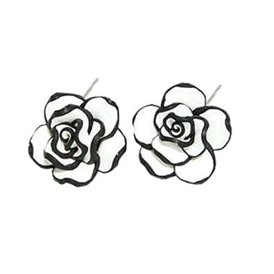 d508c8ff2 Ameesi Elegant Fashion Cute Women's Lady Girls Black White Rose Flower Stud  Earrings