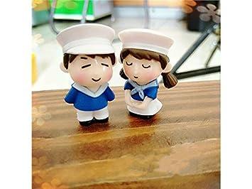 blanc + bleu Décor de jardin miniature 1 paire Miniature ...