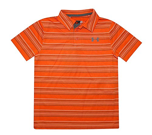 Boys Golf Shirt Top (Under Armour Big Boys Youth 8-18 Polo Shirt UPF30 Athletic Golf Top Striped (M 10/12, Orange))