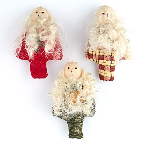 Santa Homespun - Factory Direct Craft Assorted Homespun Santa Ornaments for Tree Trim and Decorating - 6 Ornaments