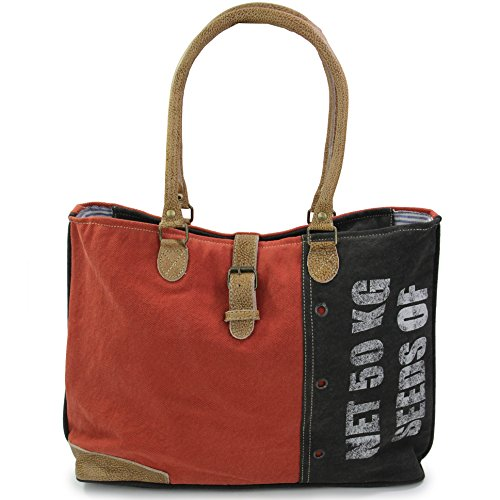 Tasche Shopper rot mit Schulterriemen Stofftasche Vintage 46 x 32 cm Bag