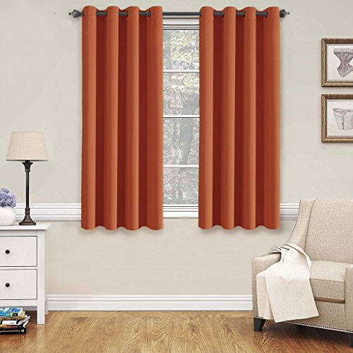H.Versailtex Thermal Insulated Blackout Shades Formaldehyde-free Kids Room Curtains,Grommet Top,52 by 63 - Inch - Burnt Orange - Set of 2 - Shades Orange