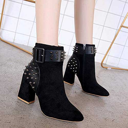 Super Unterhaltung Herbst Strass Heel Stiefeletten Frauen 1 Schwarz Freizeit High Spitzschuh Aushöhlen Stiefel Party Quadratische Schnalle Winter Martin Outdoor Junjie High q7X5nX