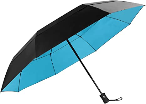 KOLER Travel Umbrella Windproof Auto Open Close Large Sized Double Canopy Waterproof /& Sunproof 46 Inch Oversized Folding Umbrellas