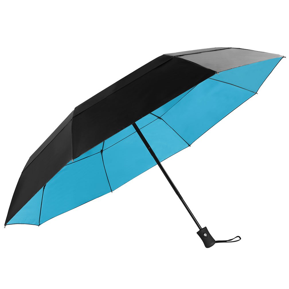 Koler Travel Umbrella Windproof Auto Open Close Double Canopy 46 Inch Large Folding Golf Umbrella, Compact Lightweight Portable and Wind Resistant, 8 Ribs - Black/Blue