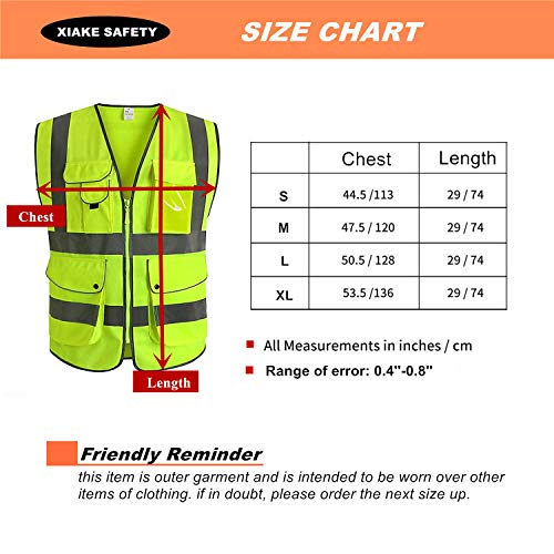 XIAKE SAFETY - Class 2 High Visibility Safety Vest with Pockets and Zipper ANSI/ISEA Standards Yellow (Small) by XIAKE SAFETY (Image #5)