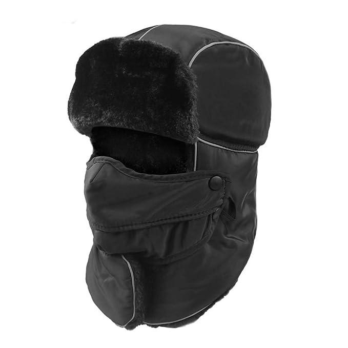 ... Unisex Invierno Gorras De Sombrero Caliente Y Máscara De Máscara De Caza Bombardero Piloto De Esquí De Nieve,Black,OneSize: Amazon.es: Ropa y accesorios